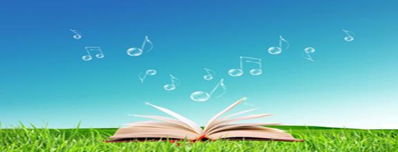 Buch auf Wiese, Noten steigen in den Himmel