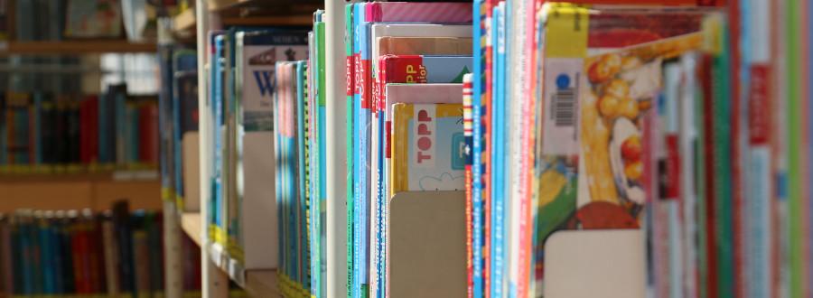 Nahaufnahme von Büchern in einem Bücherregal © Stadtverwaltung Kirchheim unter Teck (Dennis Koep)